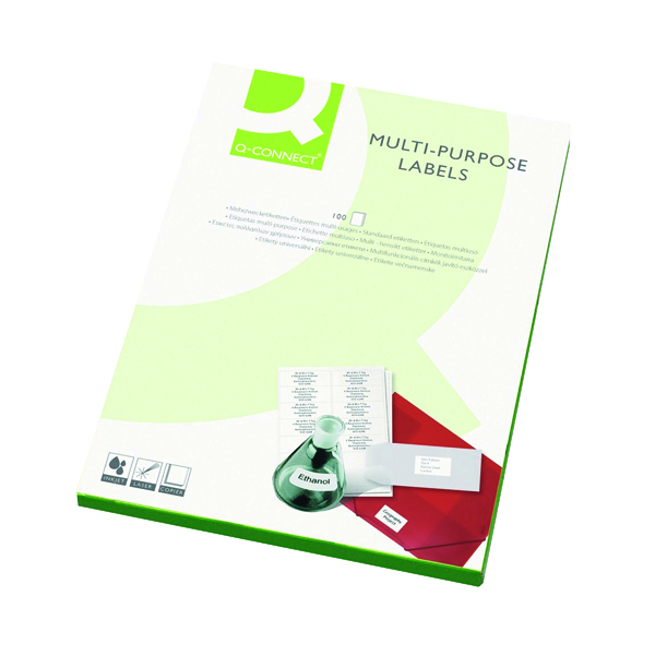 White A4 Sheet Q-Connect Multipurpose Labels 64x33.9mm 24 Per Sheet White (2400 Pack) KF26071