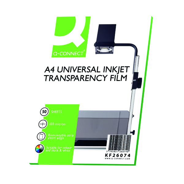 OHP Film Q-Connect Inkjet Over Head Projector Film (50 Pack) KF26074