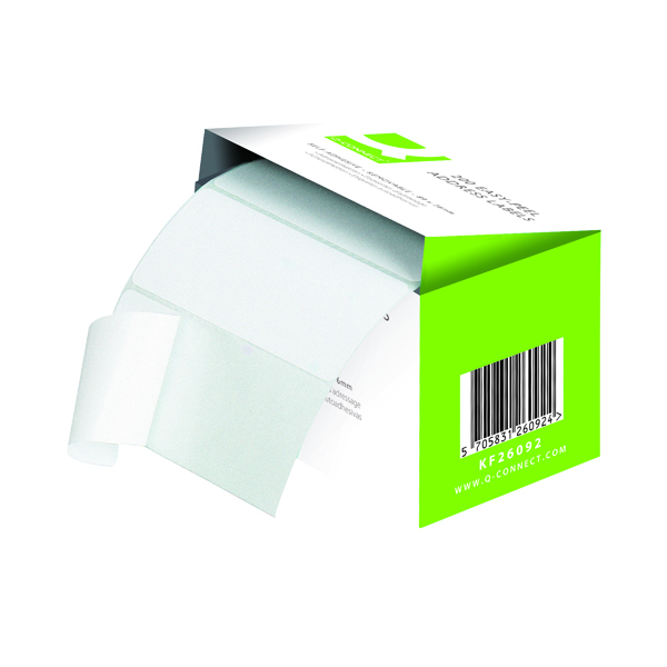 Address Labels Typist Q-Connect Address Label Roll Repositionable Self Adhesive 89mmx36mm White (200 Pack) KF26092