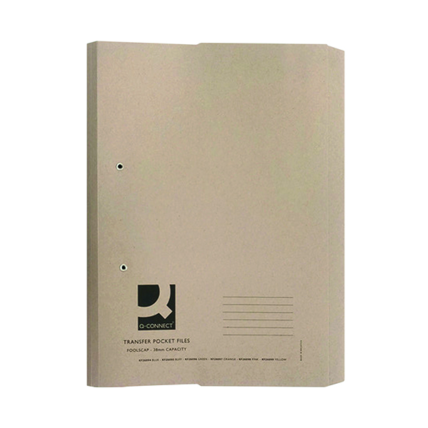Q-Connect Transfer Pocket 35mm Capacity Foolscap File Buff (25 Pack) KF26095