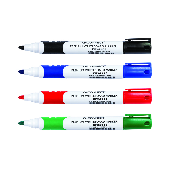 Assorted Q-Connect Premium Whiteboard Marker Bullet Tip Assorted (4 Pack) KF26113