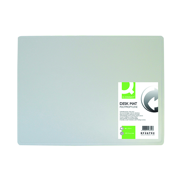 40x53cm Q-Connect PP Desk Mat With Non-Slip Surface 40X53 Clear KF26792