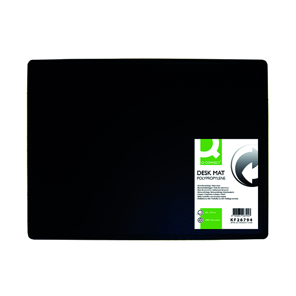 40x53cm Q-Connect PP Desk Mat With Non-Slip Surface 40X53 Black KF26794