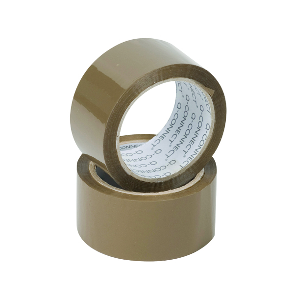 36/50mm Q-Connect Polypropylene Packaging Tape 50mmx66m Brown (6 Pack KF27010)