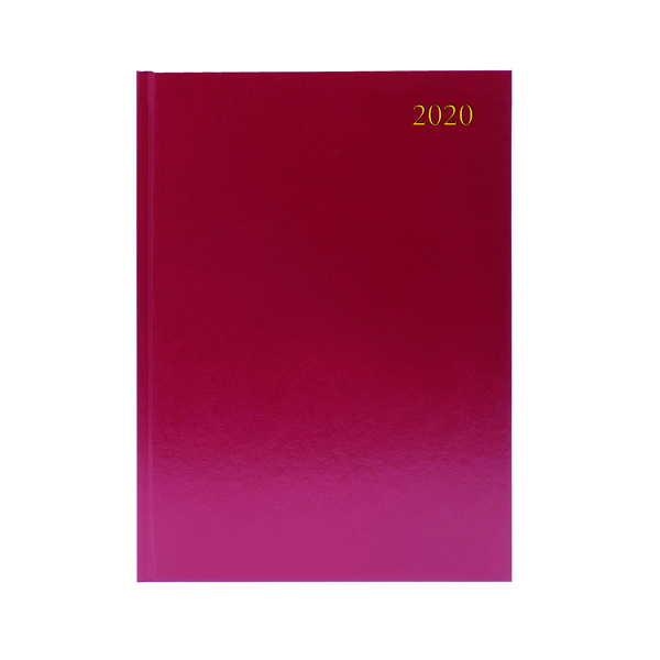 Desk Diary A4 2 Pages Per Day 2020 Burgundy KF2A4BG20