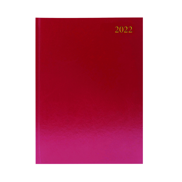 2 Pages a Day Desk Diary 2 Days Per Page A4 Burgundy 2022 KFA42BG22