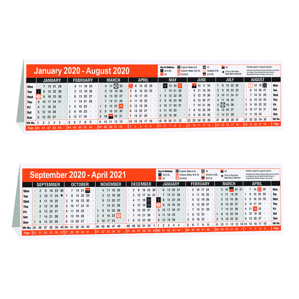 16 Month Calendar Desktop 280 x 80mm 2020 KF3004020