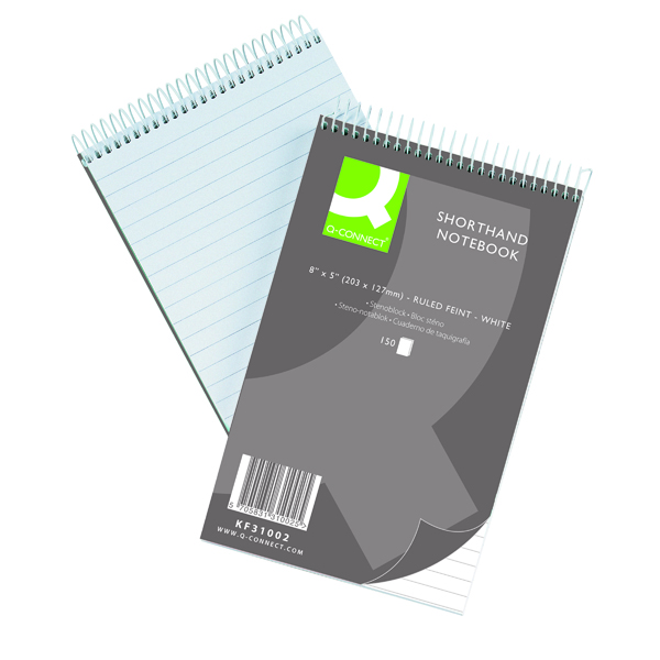 127x203mm Q-Connect Feint Ruled Shorthand Notebook 300 Pages 203x127mm (10 Pack) 31002