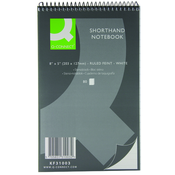 127x203mm Q-Connect Feint Ruled Shorthand Notebook 160 Pages 203x127mm (20 Pack) KF31003