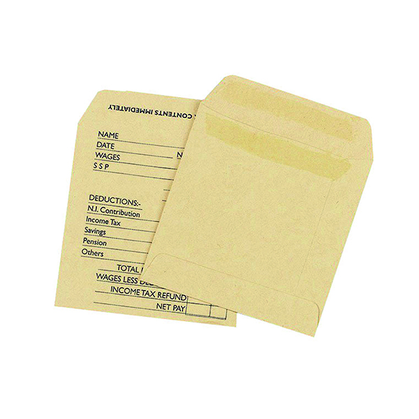 Q-Connect Envelope Wage 108x102mm Printed Self Seal 90gsm Manilla (1000 Pack) KF3430