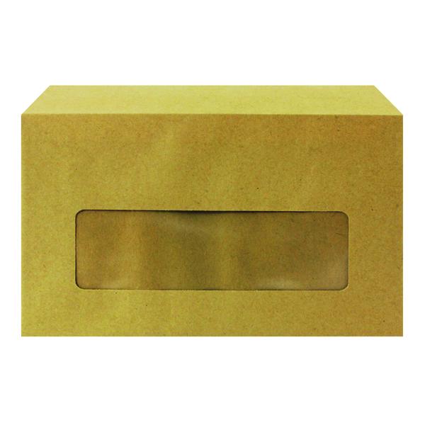 Q-Connect Envelope 89x152mm Pocket Centre Window Gummed 70gsm Manilla (1000 Pack) KF3431