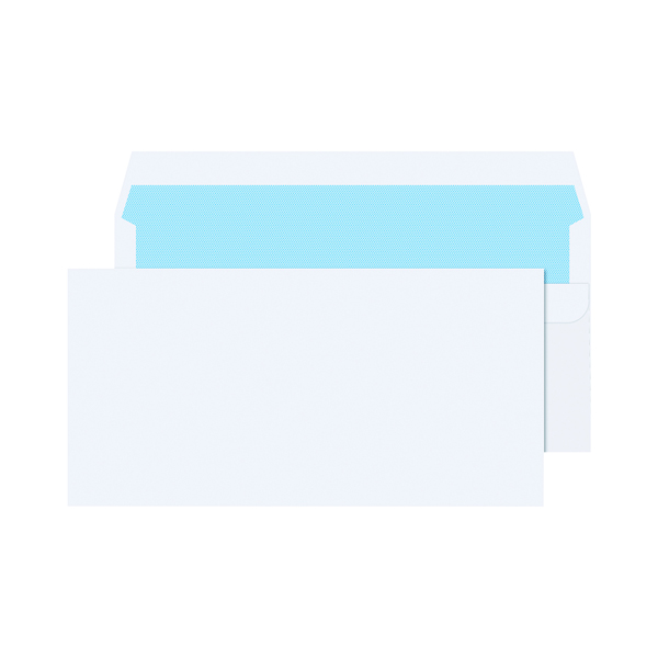 White Plain Q-Connect DL Envelopes Plain Wallet Self Seal 80gsm White (1000 Pack) KF3454
