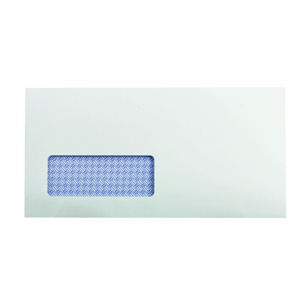 White Window Q-Connect DL Envelopes Window Recycled Self Seal 100gsm White (500 Pack) KF3505