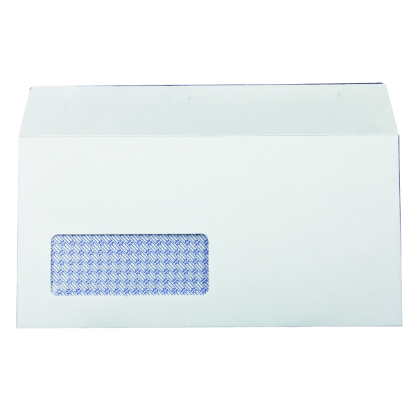 White Window Q-Connect DL Envelopes Window Self Seal 100gsm White (1000 Pack) 7138