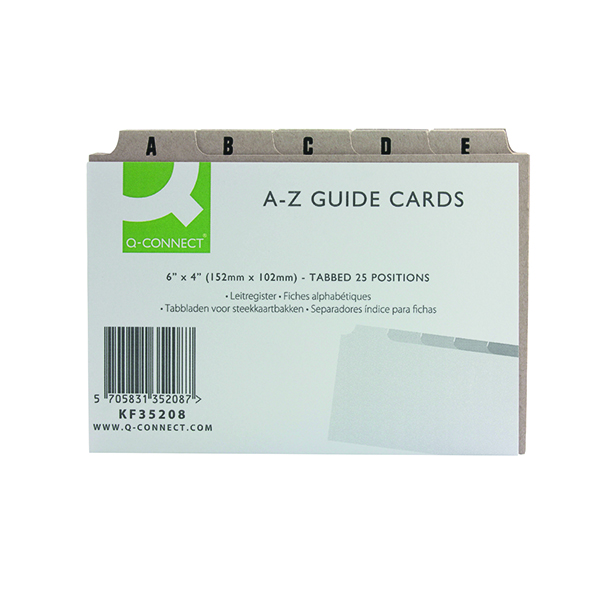 Q-Connect Guide Card 152x102mm A-Z Buff (25 Pack) KF35208