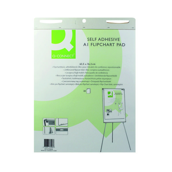 A1 Q-Connect Self-Adhesive Flipchart Pad A1 30 Sheet (2 Pack) KF37003