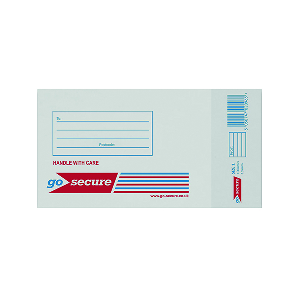 Bubble GoSecure Bubble Lined Envelope Size 1 100x165mm White (100 Pack) KF71447