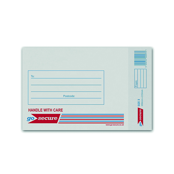 GoSecure Bubble Lined Envelope Size 3 150x215mm White (100 Pack) KF71448