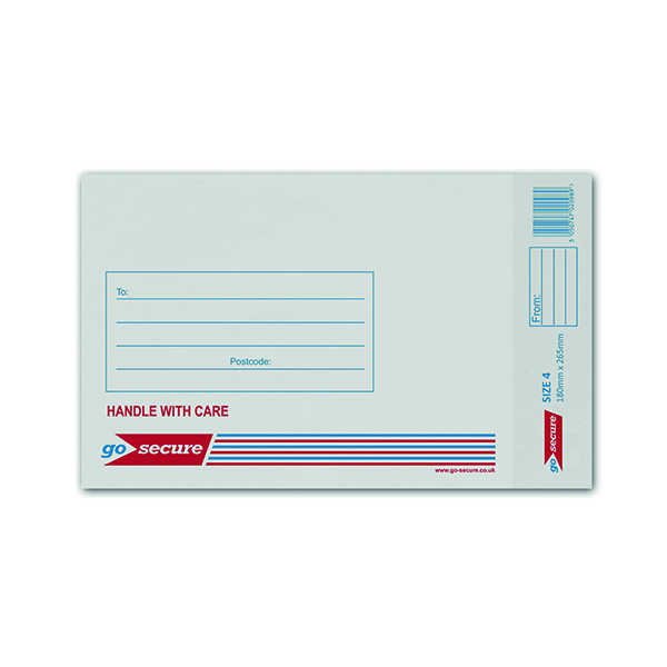 GoSecure Bubble Lined Envelope Size 4 180x265mm White (100 Pack) KF71449