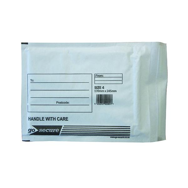 Bubble GoSecure Bubble Lined Envelope Size 4 180x265mm White (100 Pack) KF71449