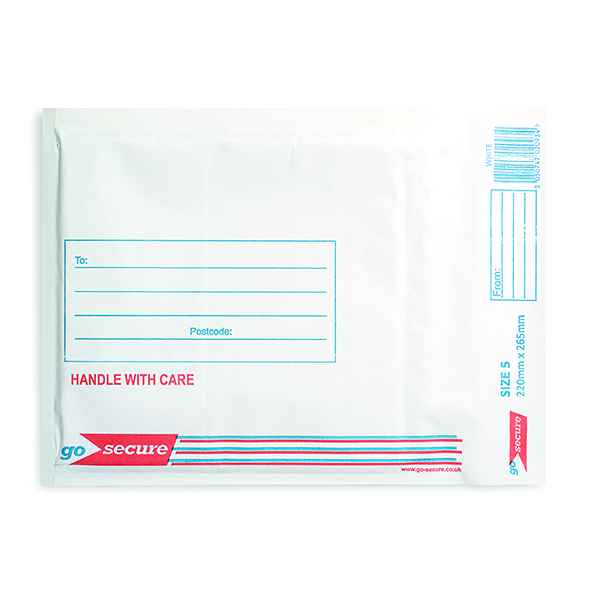 GoSecure Bubble Lined Envelope Size 5 220x265mm White (100 Pack) KF71450