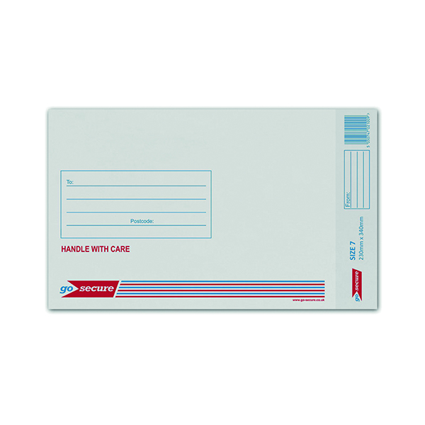 GoSecure Bubble Lined Envelope Size 7 230x340mm White (50 Pack) KF71451
