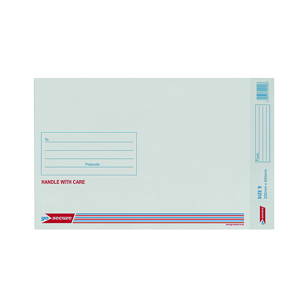 GoSecure Bubble Lined Envelope Size 9 300x445mm White (50 Pack) KF71452