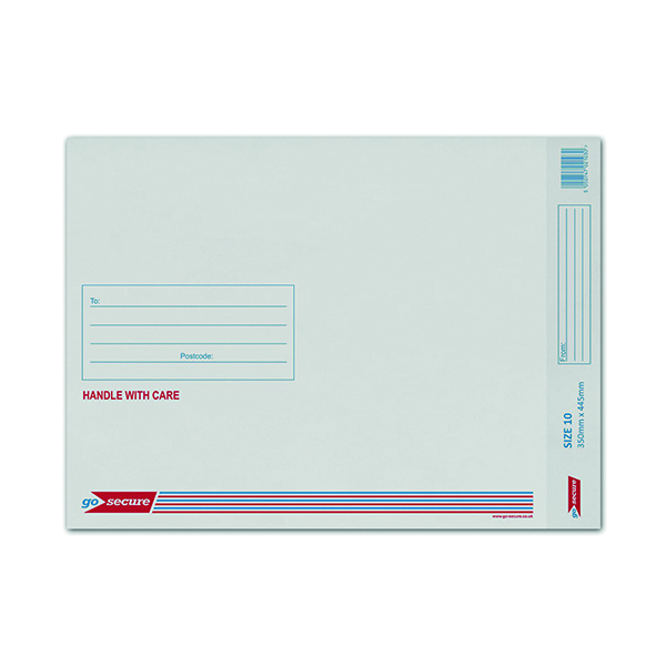 GoSecure Bubble Lined Envelope Size 10 350x470mm White (50 Pack) KF71453