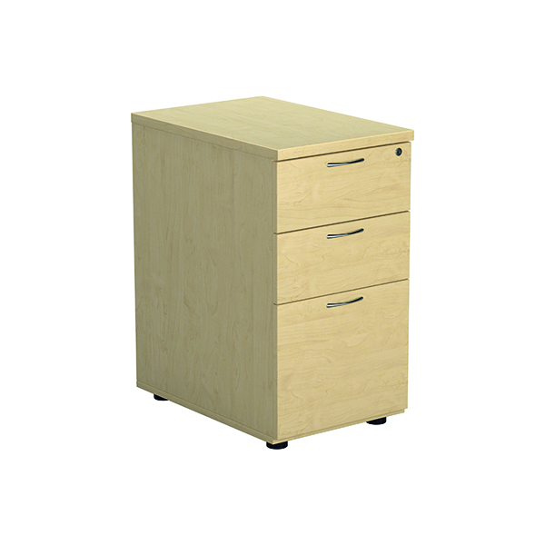Three Drawer Jemini Maple 600mm 3 Drawer Desk High Pedestal KF72071