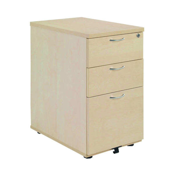 Three Drawer Jemini Maple 3 Drawer 800mm Desk High Pedestal KF72074