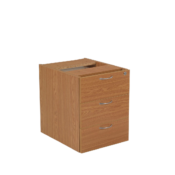 Jemini Oak 3 Drawer Fixed Pedestal KF72079