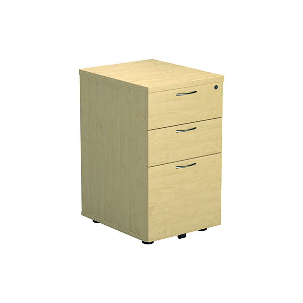 Three Drawer Jemini Maple 3 Drawer Under Desk Pedestal KF72089