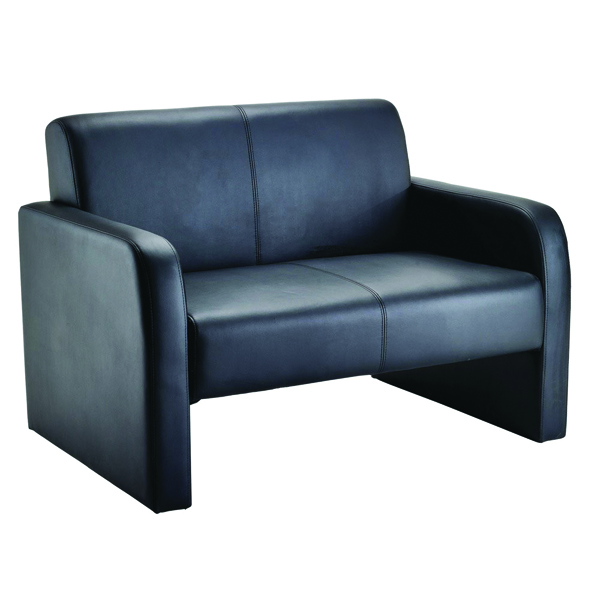 Arista Flat Pack Leather Look Black Reception Sofa KF72152