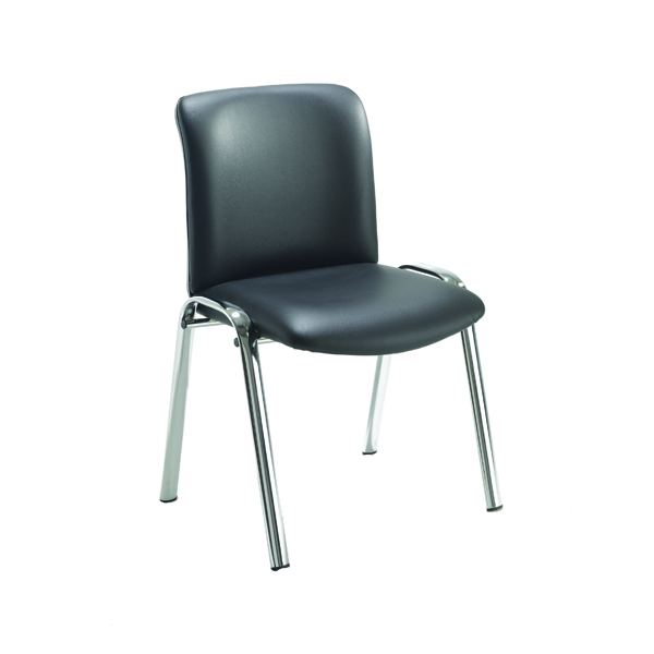 Stacking Avior Executive Leather Look Side Chair Black KF72262