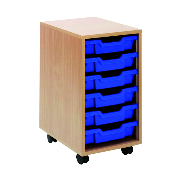 Unspecified Jemini Mobile Storage Unit 6 Tray Beech KF72338