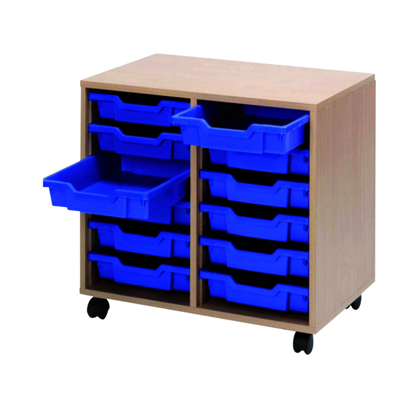 Unspecified Jemini Mobile Storage Unit 12 Tray Beech KF72339