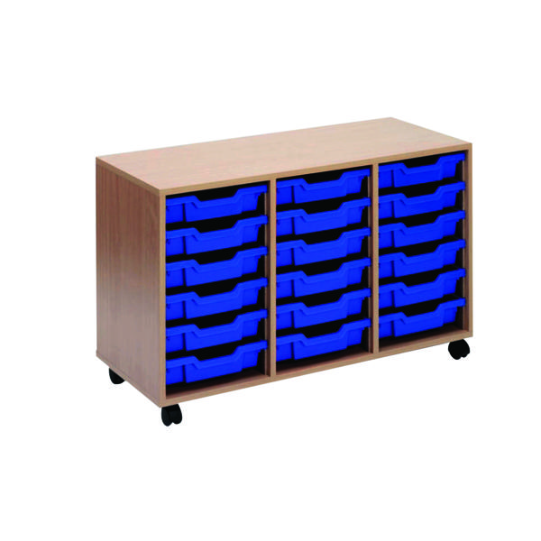 Jemini Mobile Storage Unit 18 Tray Beech KF72340