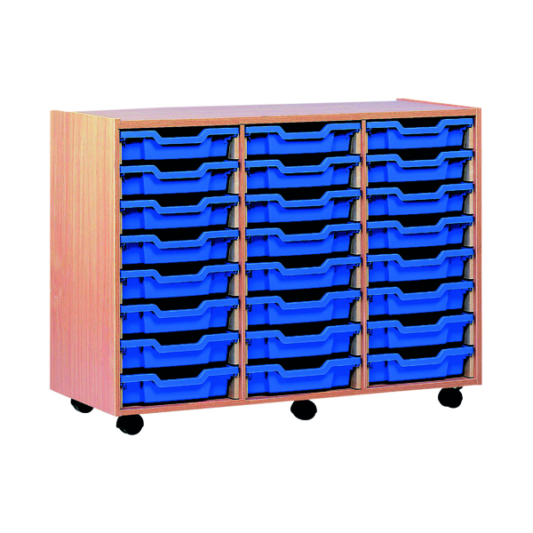 Jemini Mobile Storage Unit 24 Tray Beech KF72568