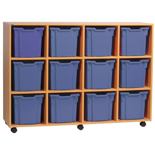 Storage Jemini Jumbo Beech Mobile Storage Unit 12 Tray KF72571
