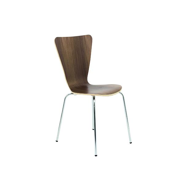 Arista Walnut/Chrome Wooden Bistro Chair (4 Pack) KF72578