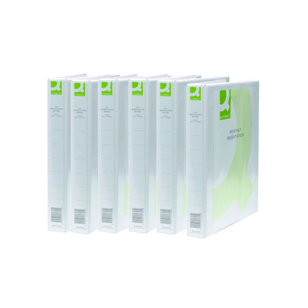 Q-Connect Presentation 25mm 2D Ring Binder A4 White (6 Pack) KF72645