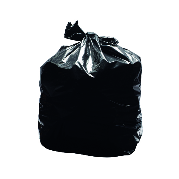 2Work Light Duty Refuse Sack Black (200 Pack) KF73375