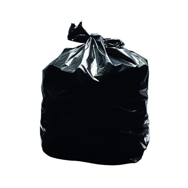 2Work Light Duty Refuse Sack Black (200 Pack) KF73375