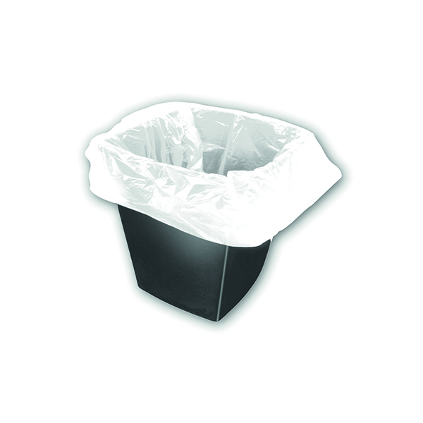Bin Bags & Liners 2Work Square Bin Liners 30 Litre White (1000 Pack) KF73380