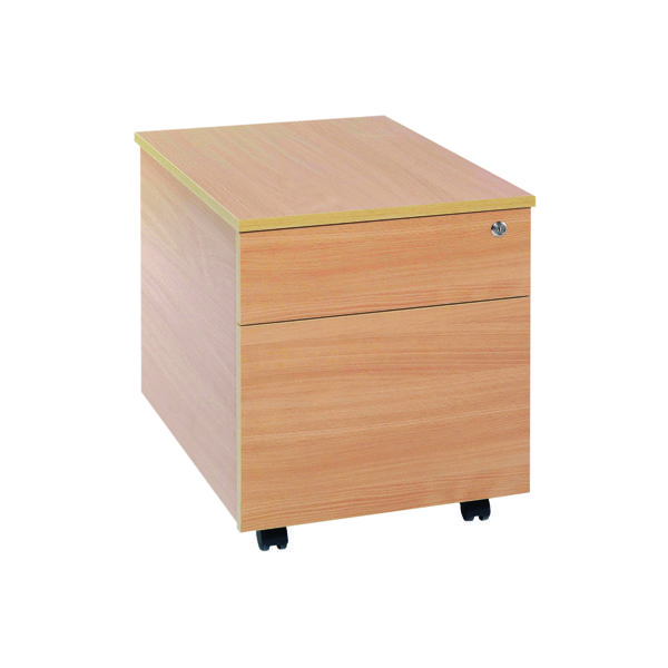 Two Drawer Serrion Bavarian Beech 2 Drawer Mobile Pedestal KF73516