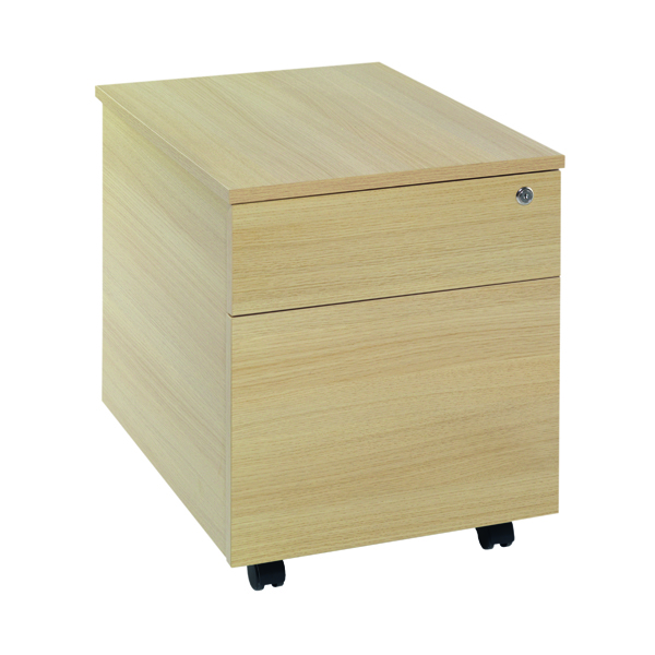 Two Drawer Serrion Ferrera Oak 2 Drawer Mobile Pedestal KF73517