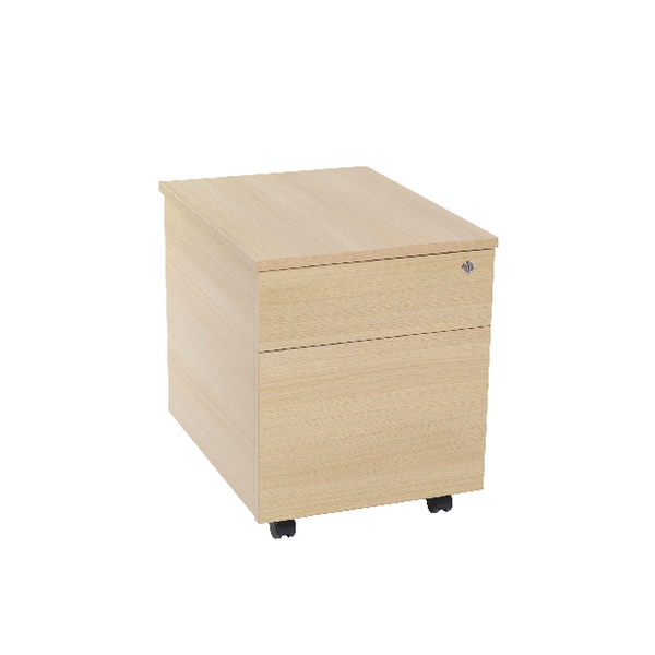Two Drawer Serrion Warm Maple 2 Drawer Mobile Pedestal KF73836
