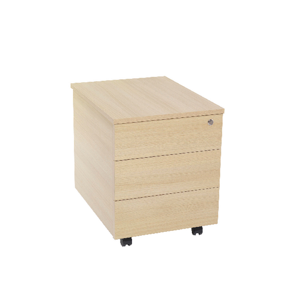 Serrion Warm Maple 3 Drawer Mobile Pedestal KF73837