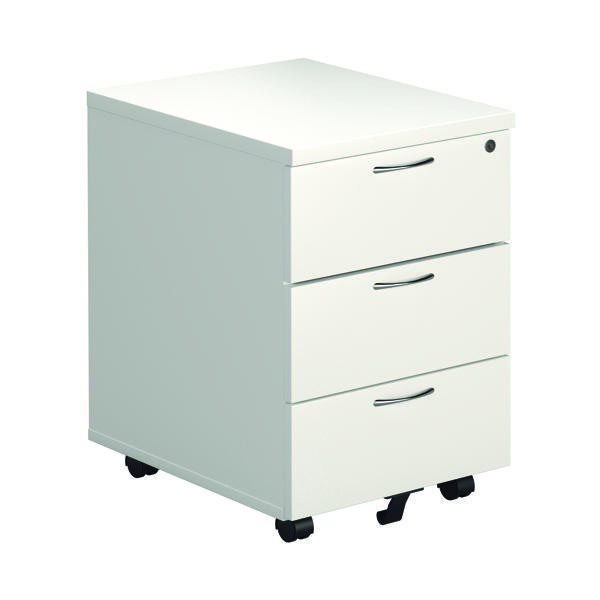 Jemini White 3 Drawer Mobile Pedestal KF74148