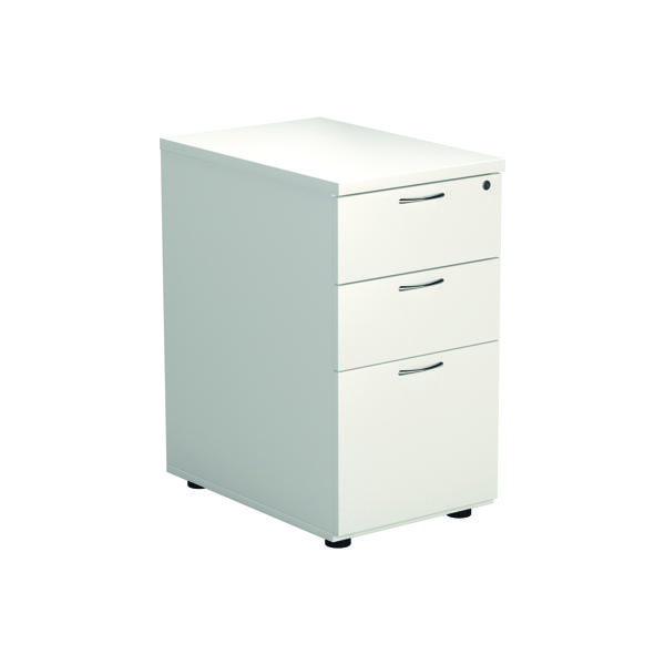 Unspecified Jemini White 3 Drawer Desk High Pedestal W400xD600xH730mm KF74149